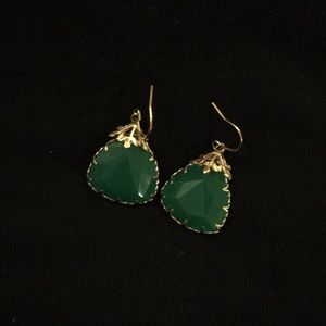 Green and gold drop earrings